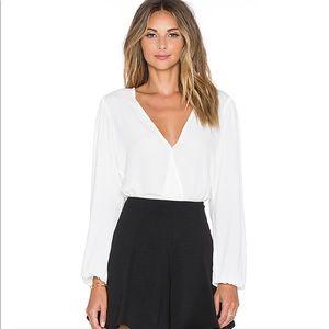 Lovers & Friends White Long Sleeve Bodysuit LG